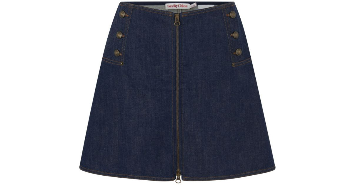see by chlo 233 s buttoned denim flare skirt in blue lyst