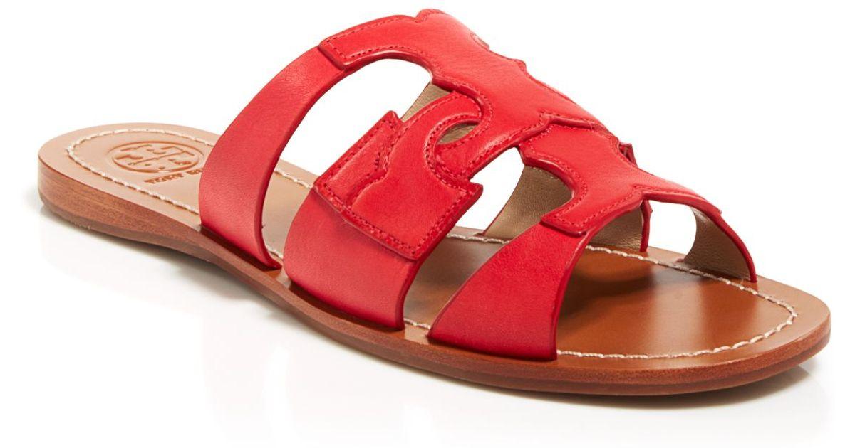 7002e3f5b Tory Burch Flat Slide Sandals - Anchor in Red - Lyst