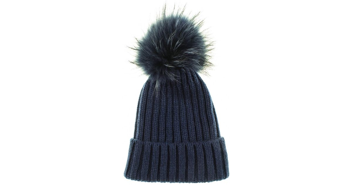Lyst - Black.co.uk Navy Cashmere And Fur Pom Pom Beanie in Blue for Men fa595d7beee
