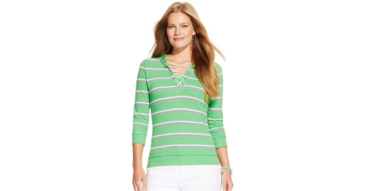 2694eee9b3403 Lyst - Lauren by Ralph Lauren Plus Size Striped Lace-Up Hoodie in Green