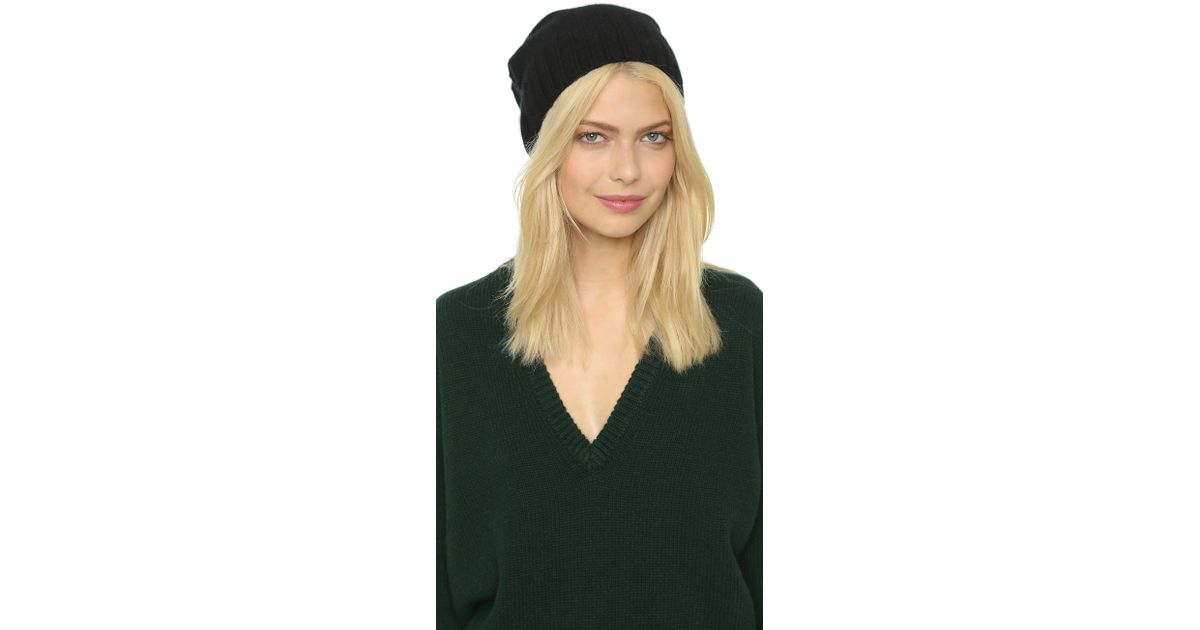 30a84a874a Lyst - Hat Attack Cashmere Slouchy   Cuff Hat in Black