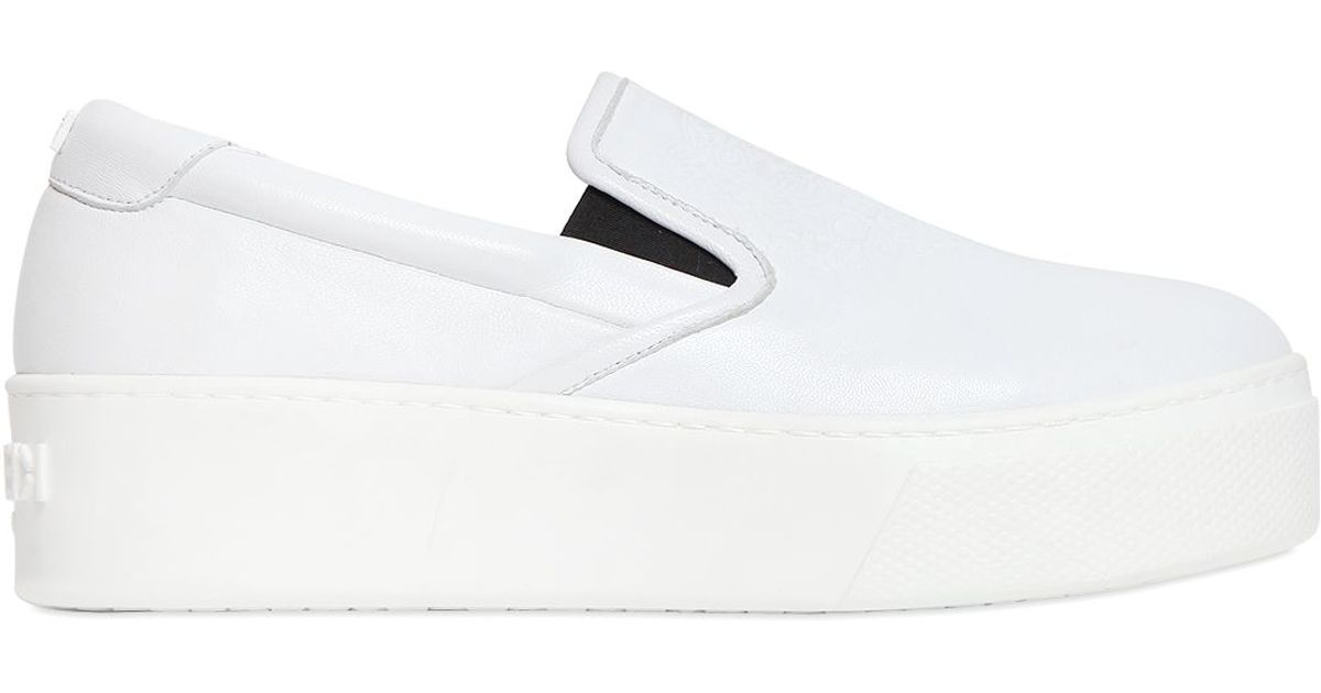 822813cee45e Lyst - KENZO 40mm Leather Slip-on Platform Sneakers in White