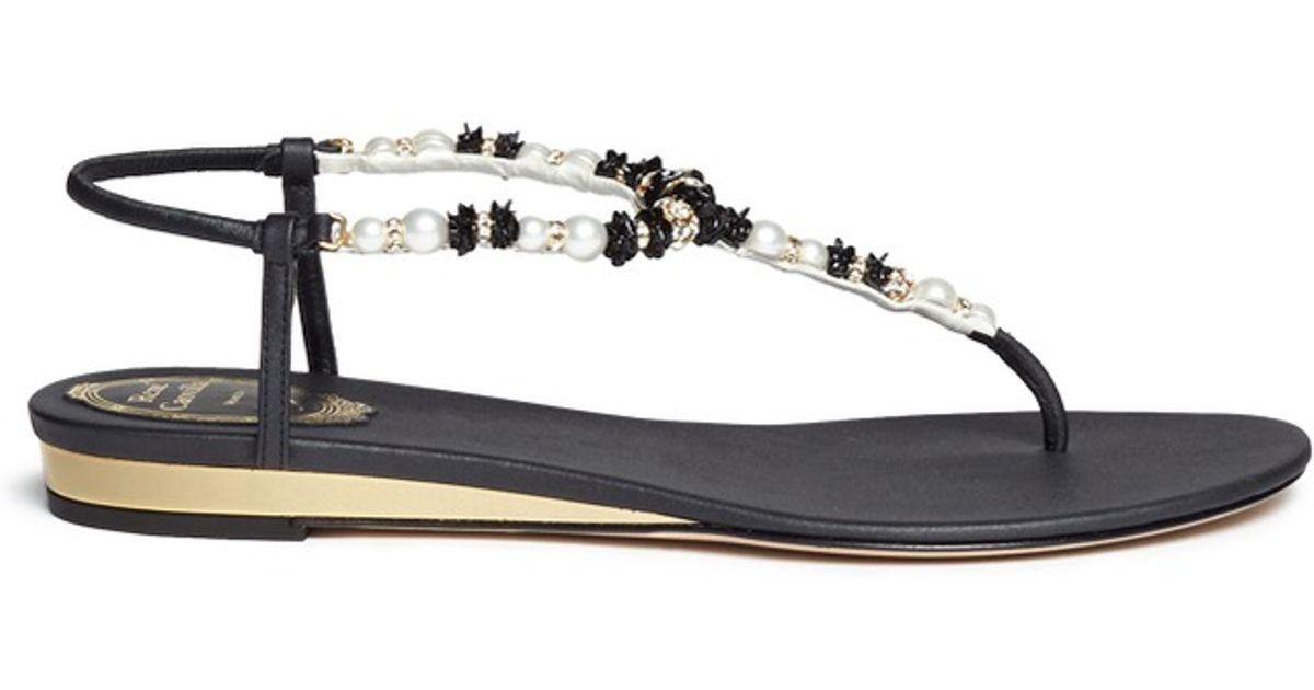 5fed44d15d6 Lyst - Rene Caovilla Floral Bead Pearl T-strap Flat Sandals