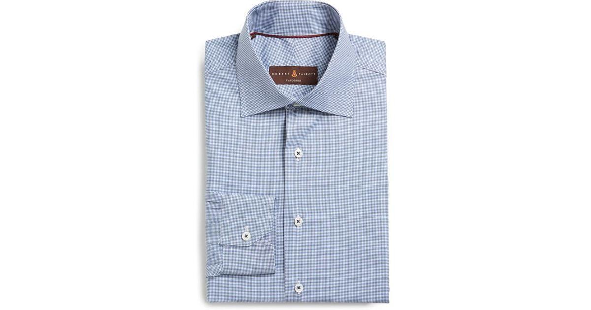 Robert talbott tailored fit check dress shirt in blue for for Tailored fit dress shirts