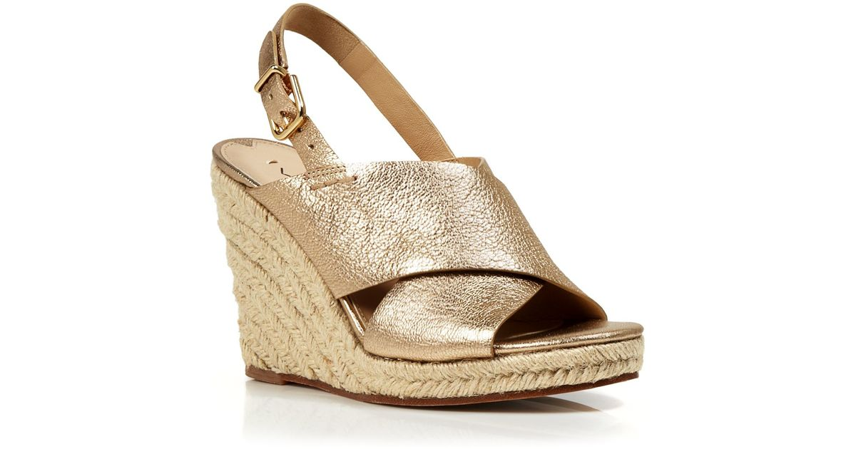 5f90956061cf Lyst - Via Spiga Open Toe Slingback Platform Wedge Espadrille Sandals -  Rosette in Metallic