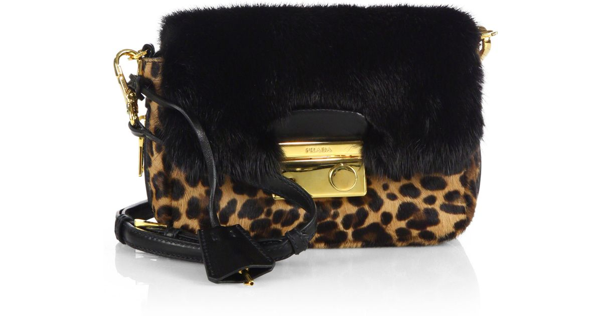 Prada Cavallino \u0026amp; Mink Fur Crossbody Bag in Black (LEOPARD) | Lyst