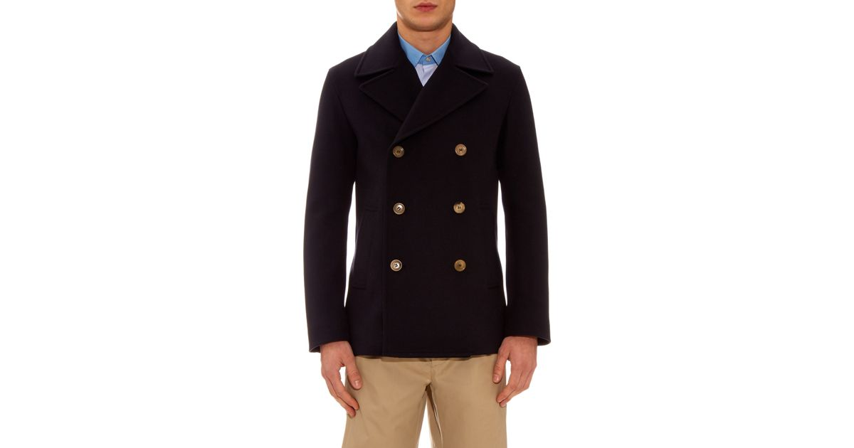 b1855e1d7dc9 Lyst - Gucci Double-breasted Wool-felt Pea Coat in Blue for Men