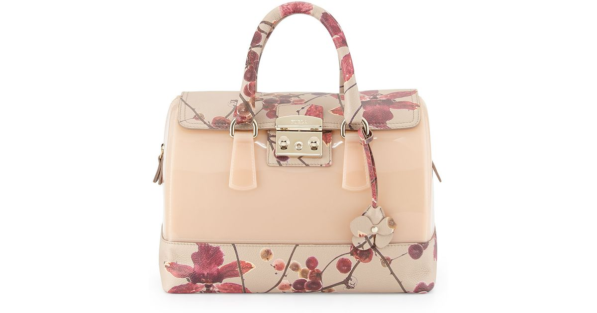 Lyst Furla Candy Fl Print Leather Combo Satchel Bag Blushberry In Natural