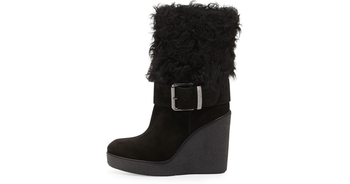 moncler marguerite fur cuff wedge boots in black lyst