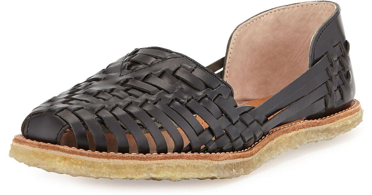TOMS Black Leather Huarache Sandal BxThY0