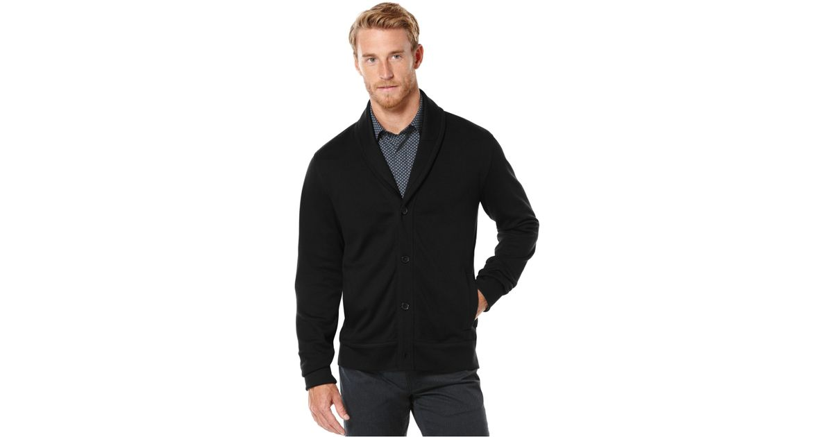 Lyst - Perry Ellis Jacquard Shawl-collar Sweater Jacket in Black for Men 2ad61050d