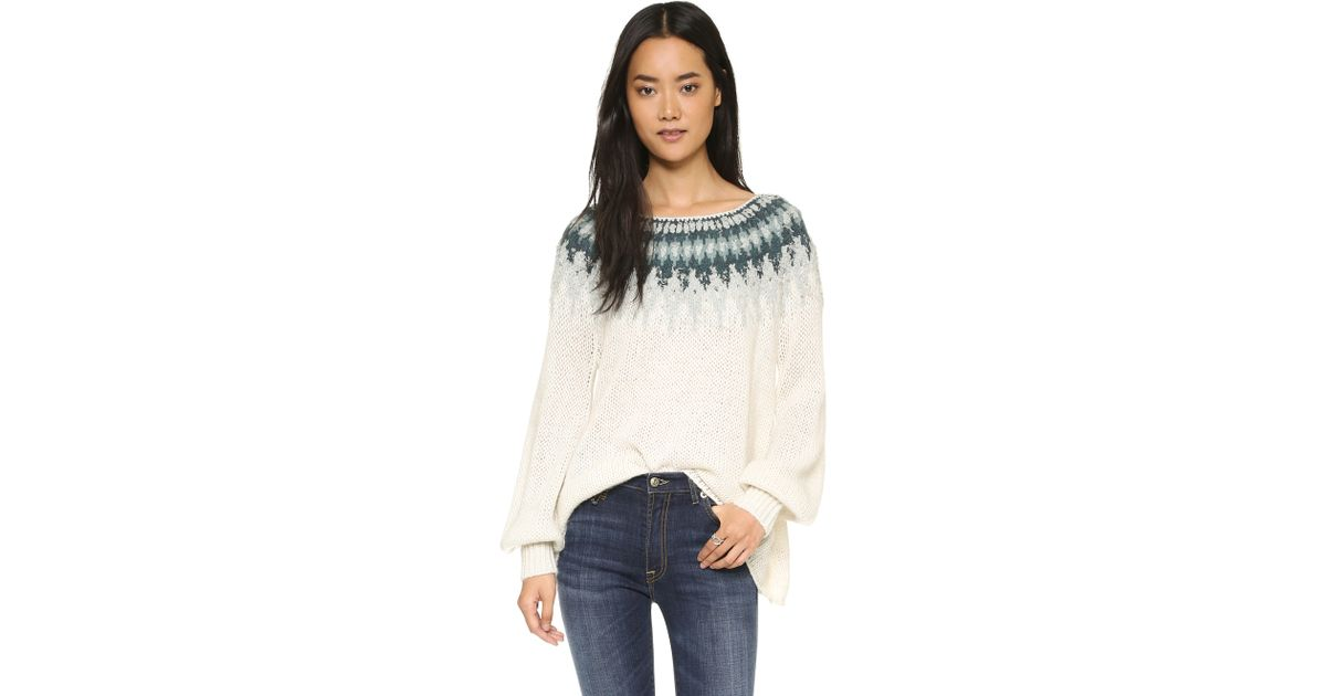 Free people Baltic Fair Isle Sweater - Grey Combo in White | Lyst