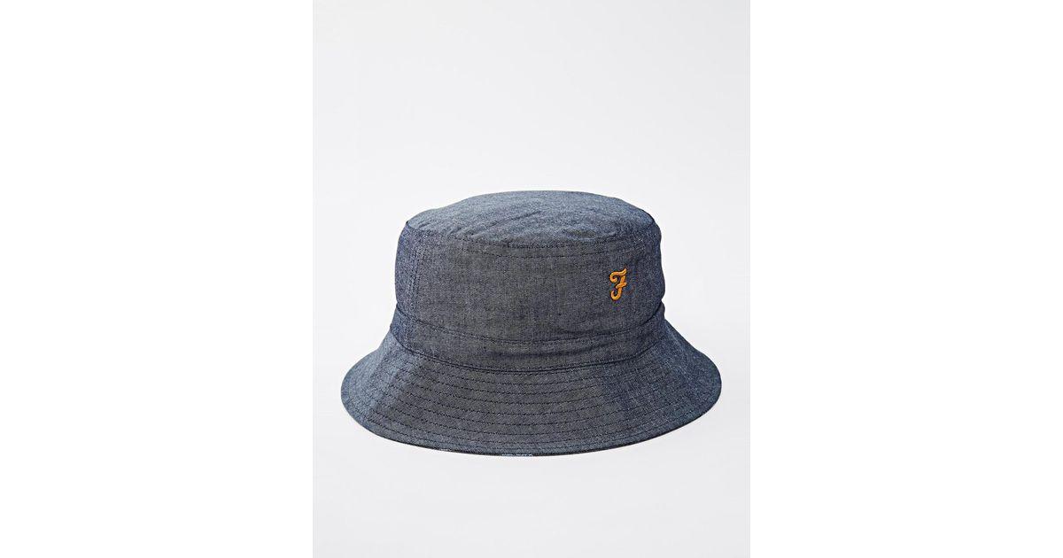 Lyst - Farah Chambray Reversible Bucket Hat in Blue for Men 3a5994e44525