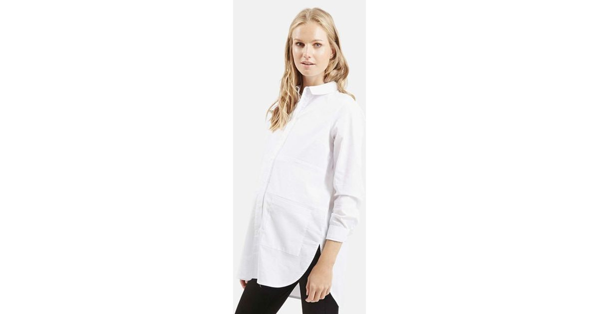 81a7479dfb6 TOPSHOP Oversize Button Front Maternity Shirt in White - Lyst