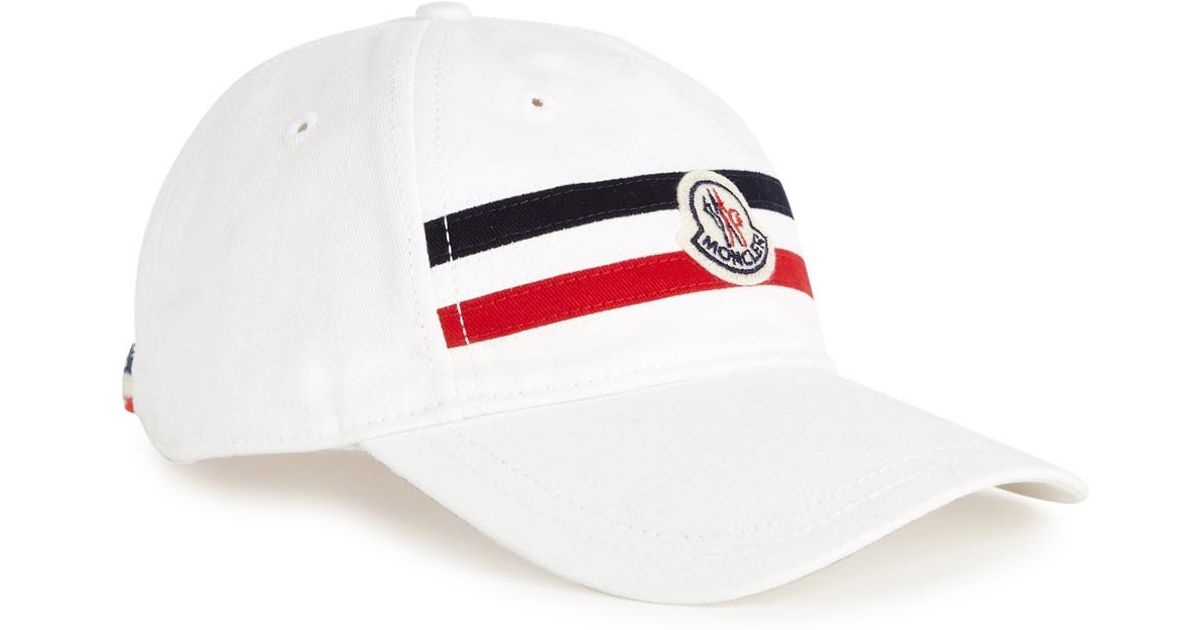 Moncler White Cotton Twill Cap in White for Men - Lyst 92644ce1070