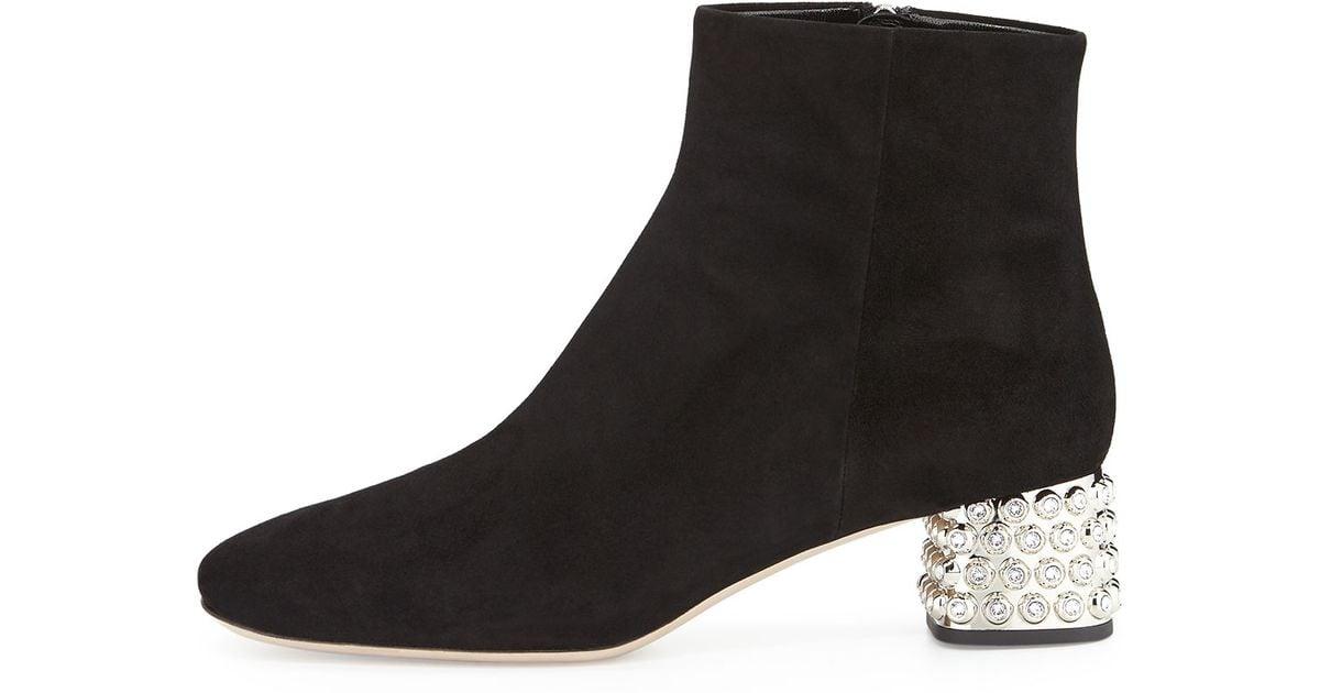 3c91ada19e1d Lyst - Miu Miu Jewel-Studded Block-Heel Ankle Boot in Black