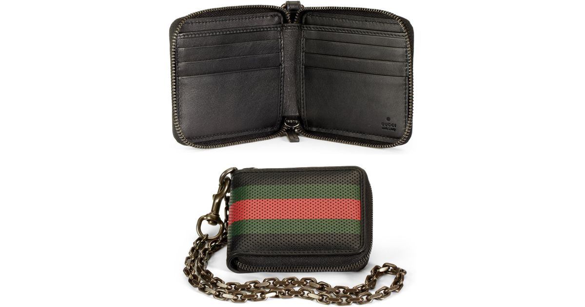 b8757aa0cc4 Lyst - Gucci Perforated Leather Web Chain Wallet in Black for Men