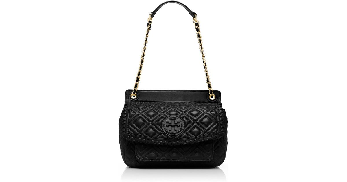 24659377f2a Tory Burch Marion Quilted Small Shoulder Bag in Black - Lyst