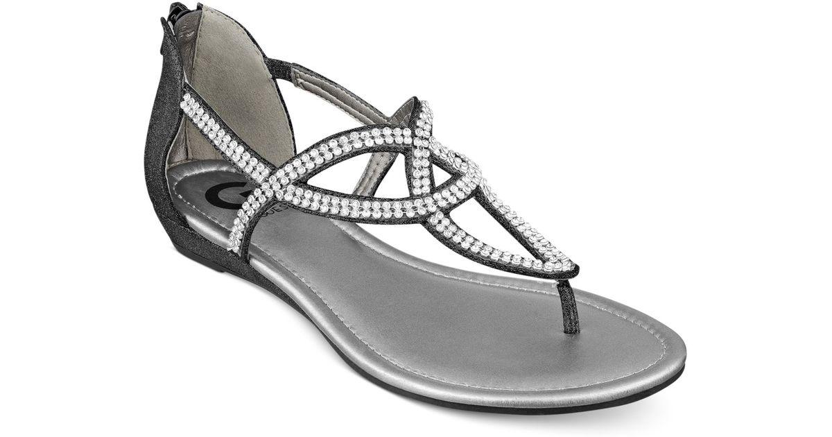 002a09e7a3a09 Lyst - G by Guess Women S Jamila Rhinestone Flat Thong Sandals in Black