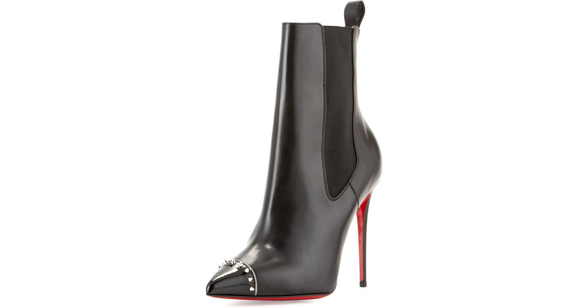 Christian louboutin Banjo Spiked Leather Boots in Black (BLACK ...