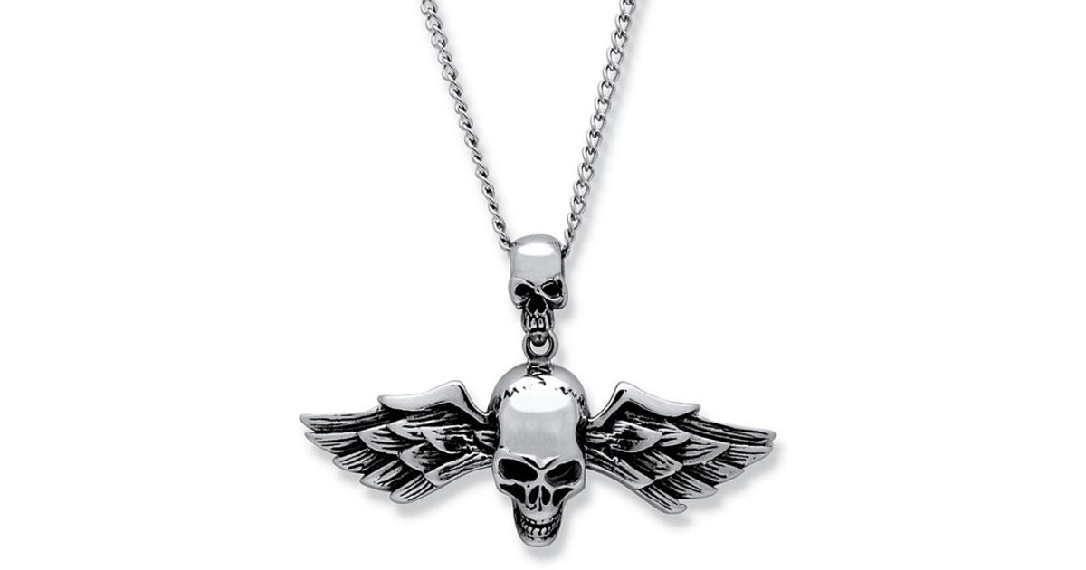 Lyst palmbeach jewelry mens double skull and wings pendant and 24 lyst palmbeach jewelry mens double skull and wings pendant and 24 chain in stainless steel in metallic for men aloadofball Images