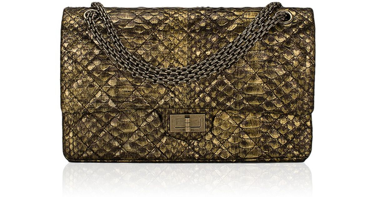 fe26a13b2f Lyst - Madison Avenue Couture Chanel Gold Python Quilted 2.55 Reissue 227  Double Flap Bag in Metallic