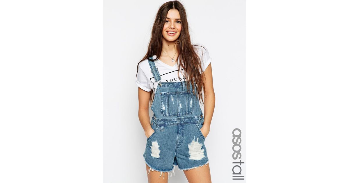 a61f3abde Lyst - ASOS Denim Dungaree Short In Vintage Mid Wash With Raw Hem ...