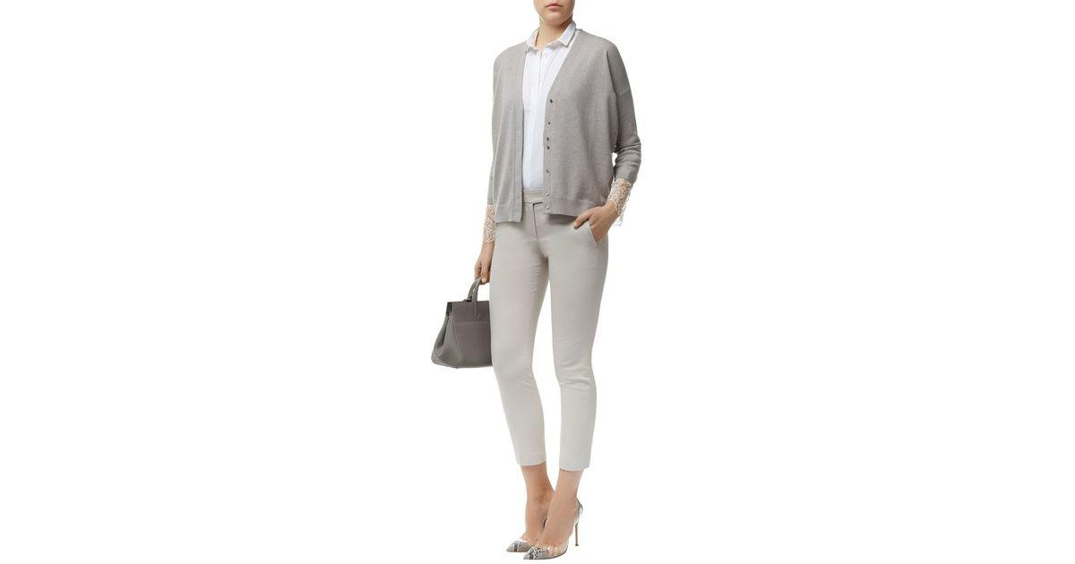 f35304654e Brunello Cucinelli Cashmere Lace Cuff Cardigan in Gray - Lyst