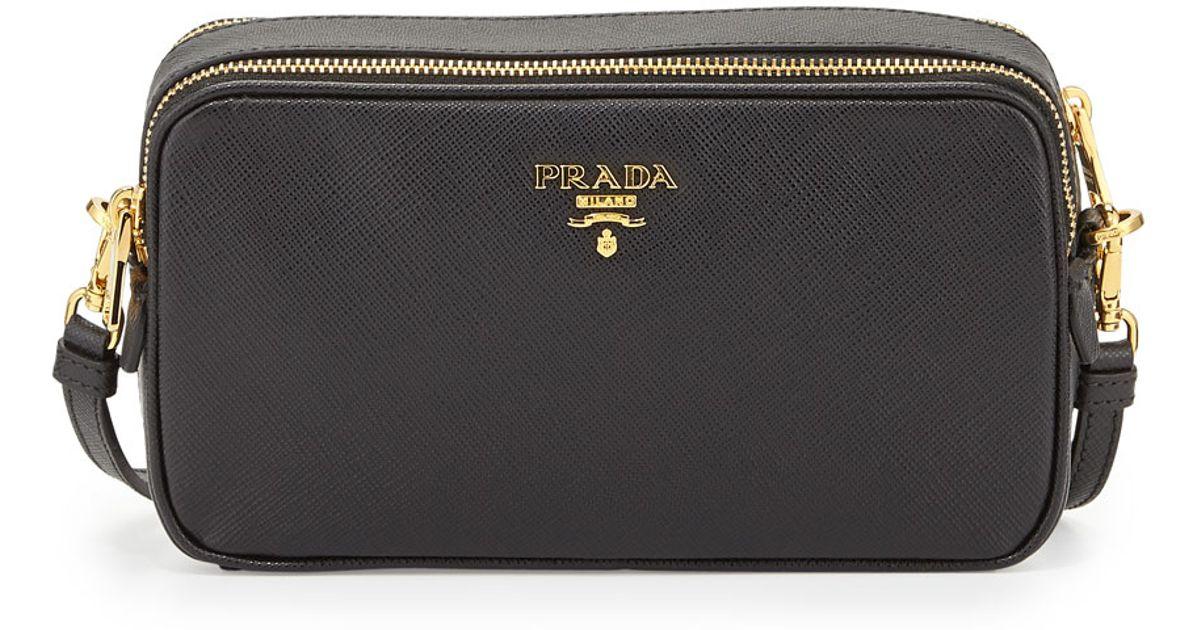 8918661a1f ... purchase lyst prada saffiano mini crossbody bag in black 4a260 b5233