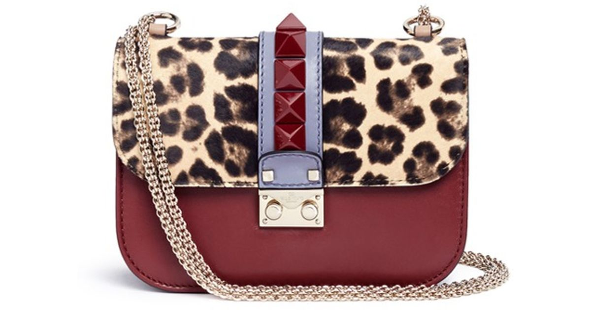 0dcc08190eb Valentino Glam Lock Small Leopard-Print Shoulder Bag in Brown - Lyst