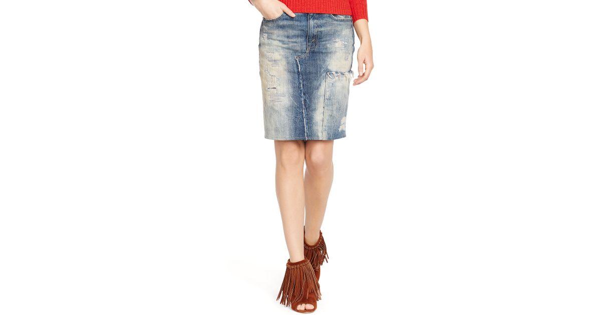 c767139ce4 Lyst - Polo Ralph Lauren Denim Pencil Skirt in Blue