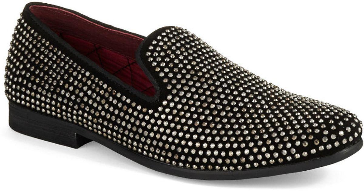 a8814550423 Steve Madden Black Caviarr Rhinestone Loafers for men