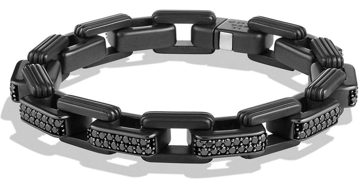 Lyst David Yurman Royal Cord Link Bracelet With Black Diamonds In For Men