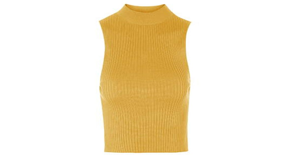 d8a23443b1f007 Lyst - TOPSHOP  90s Knitted Ribbed Crop Top in Yellow