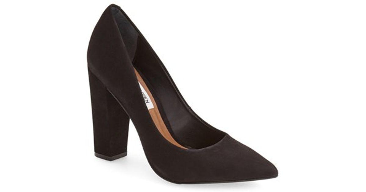 4b024098d74 Lyst - Steve Madden  primpy  Pointy Toe Block Heel Pump in Black