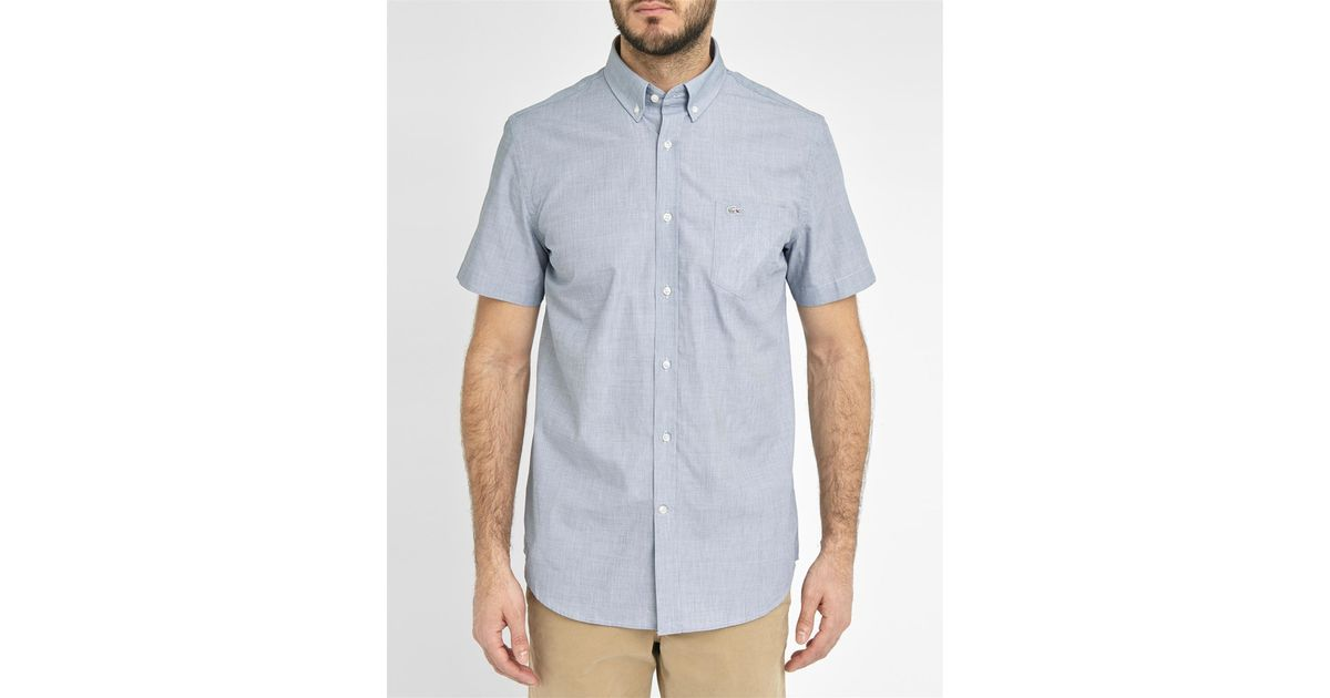 Lacoste Navy Short Sleeve End On End Cloth Logo Button