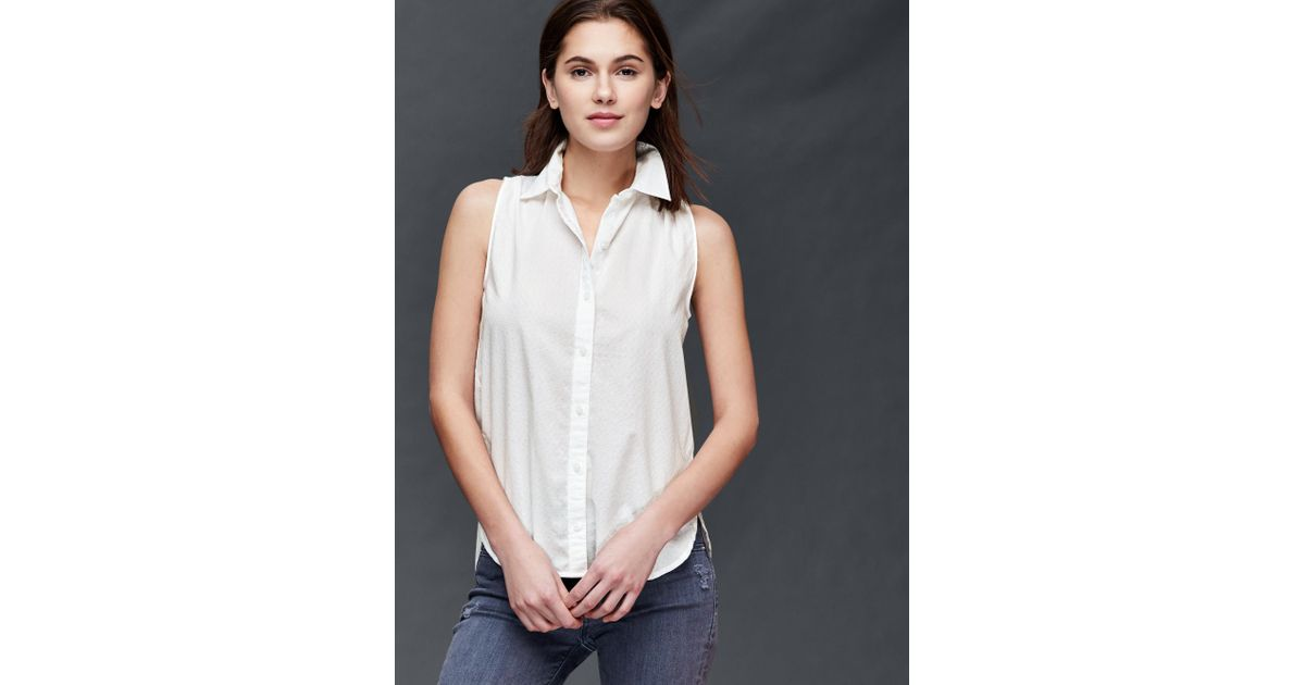 Gap textured sleeveless collar shirt in white new off for Sleeveless white shirt with collar
