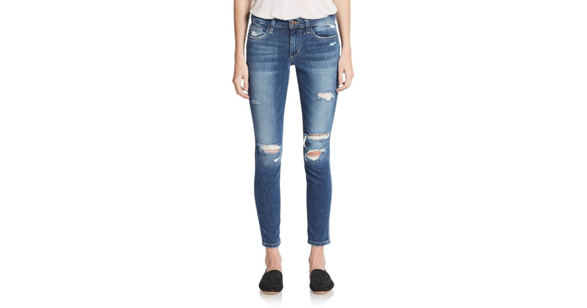 9f841e6f5f8d Joe's Jeans Distressed Skinny Ankle Jeans in Blue - Lyst