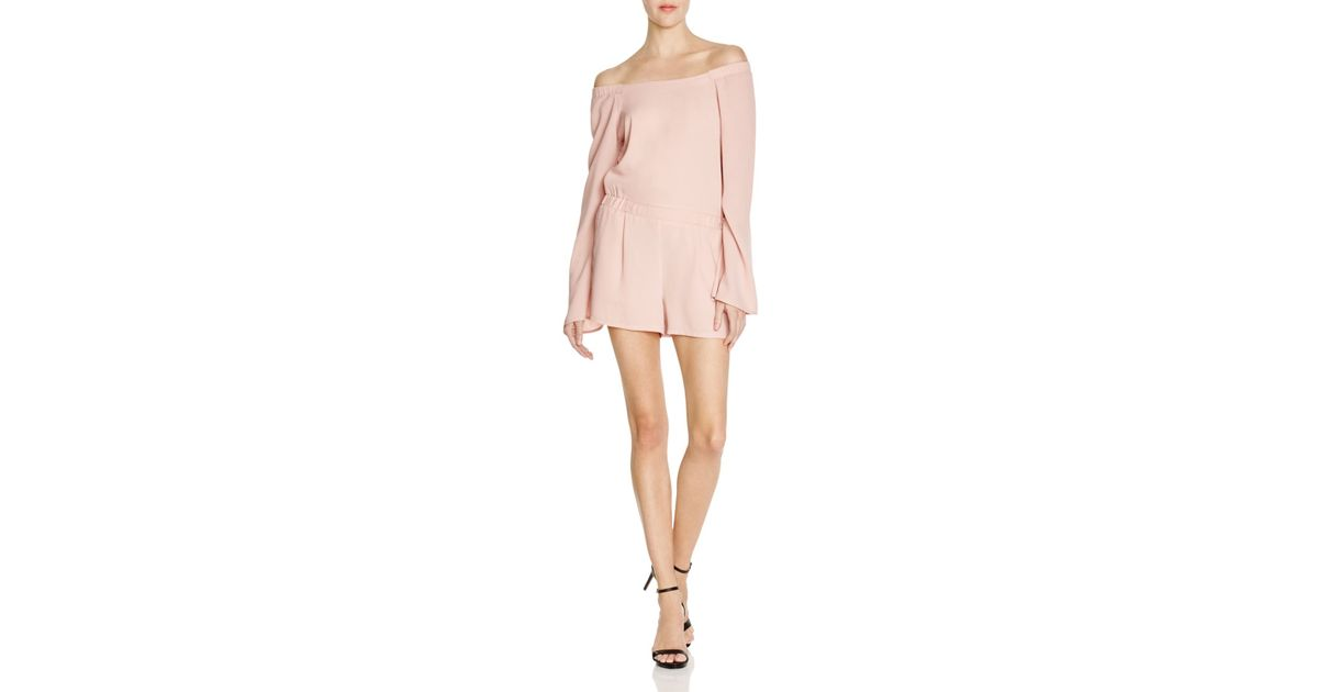 2dd55d1251c6 Lyst - BCBGMAXAZRIA Off-the-shoulder Romper - 100% Bloomingdale s Exclusive  in Pink