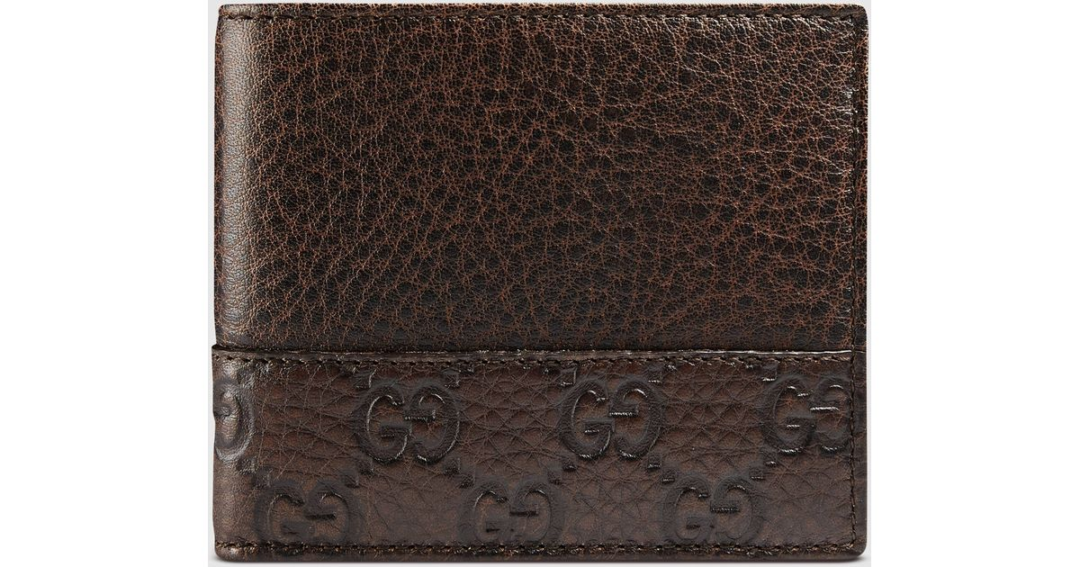 67fbd7e0f8a Lyst - Gucci Leather Bi-fold Wallet With Microguccissima Trim in Brown for  Men
