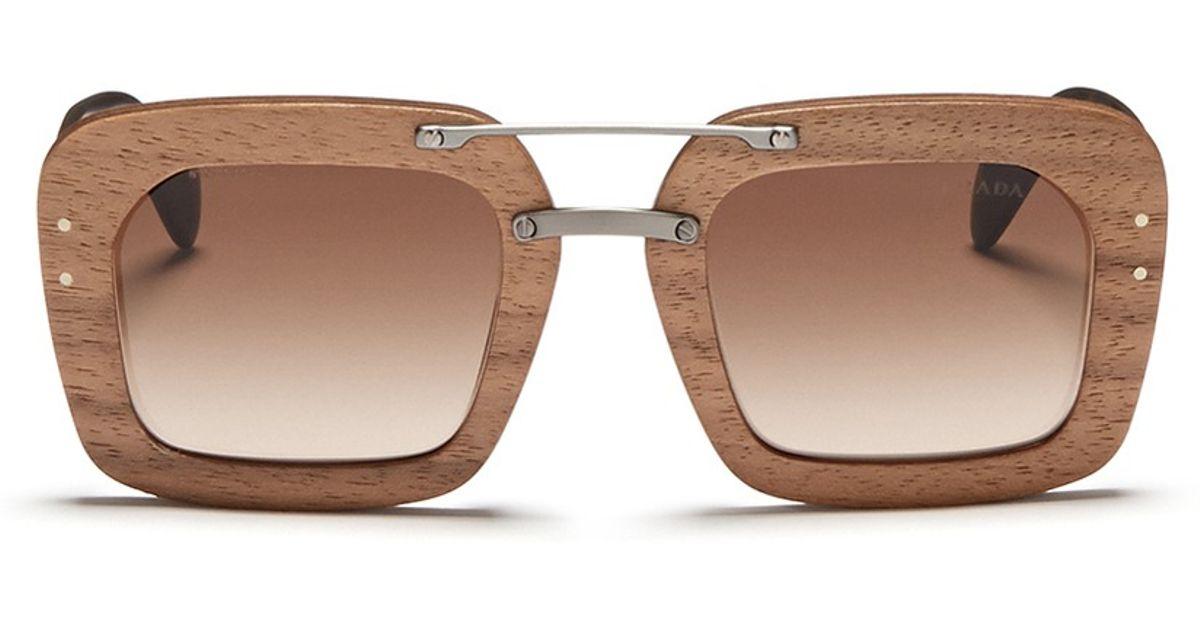 Clearance Prada Sunglasses Wooden Frame C4695 1e8df