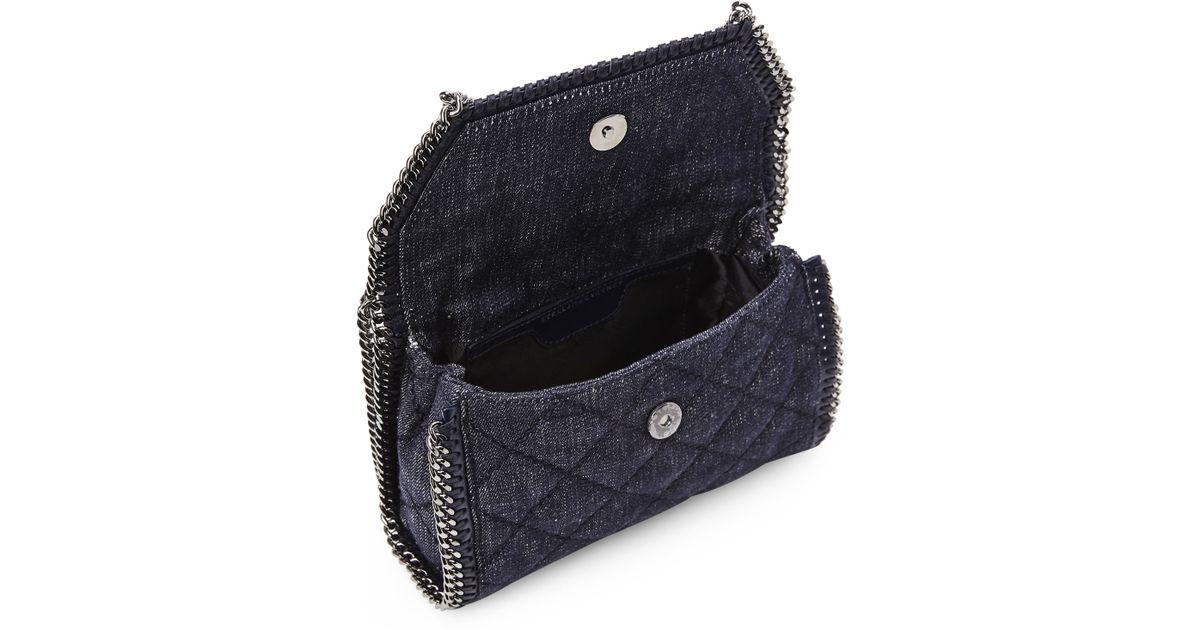 91033e5b95c7 Lyst - Stella McCartney Denim Quilted Falabella Mini Bag in Blue