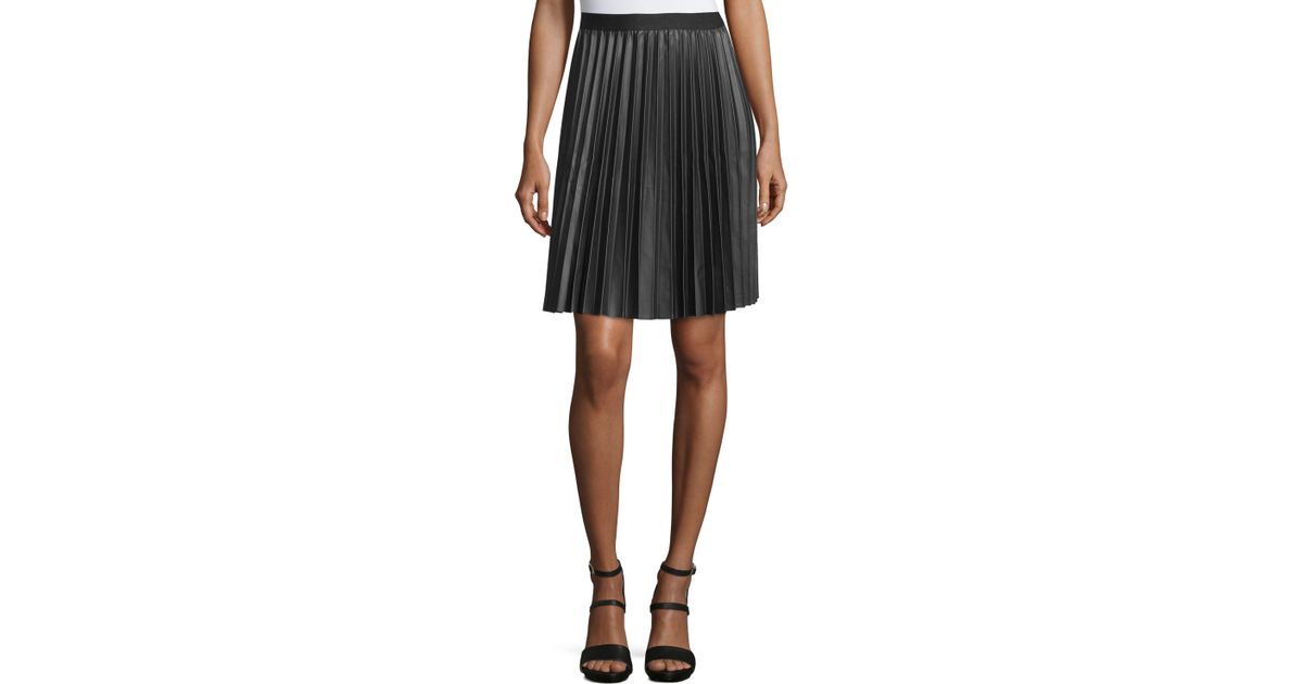 max studio pleated faux leather a line skirt in black