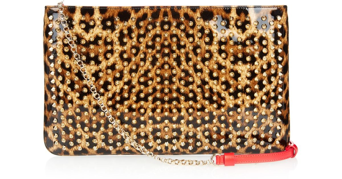 95f7af8baac Christian Louboutin Loubiposh Spikes Patent-leather Pouch - Lyst