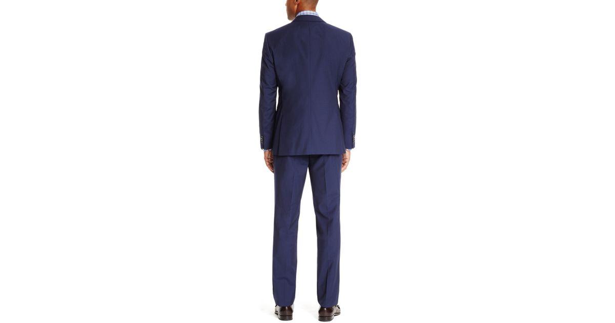 d69e4fdde BOSS James/sharp' | Regular Fit, Super 100 Striped Wool Suit in Blue for  Men - Lyst