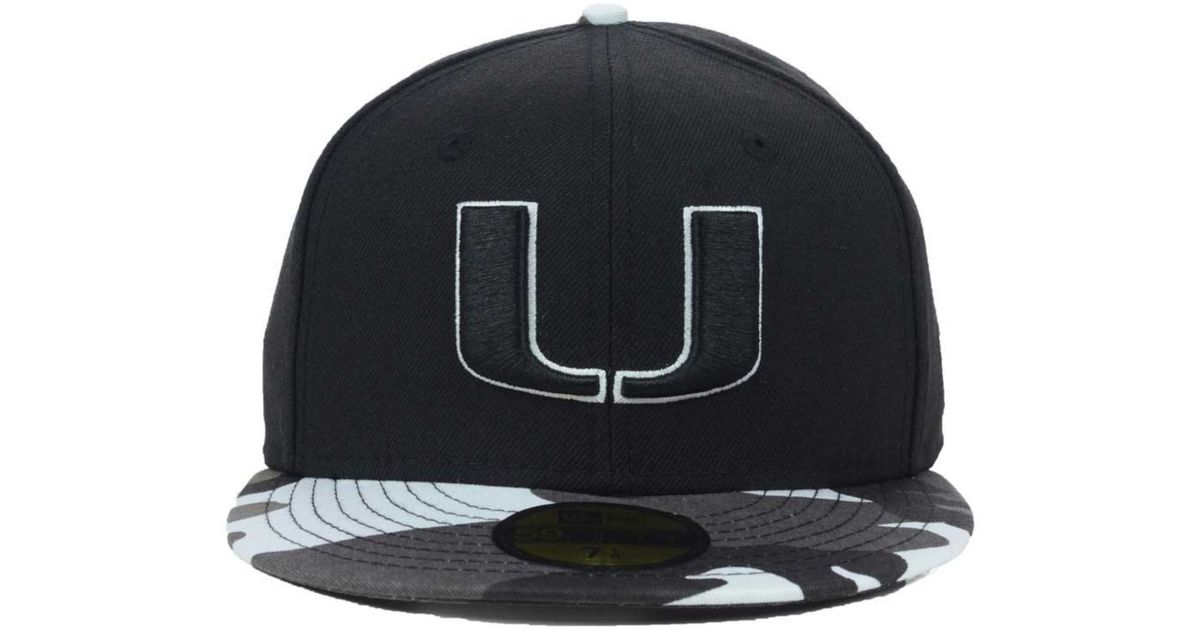 ... cheapest lyst ktz miami hurricanes urban camo 59fifty cap in black for  men a5f5d 019c4 64e8cb0643c6