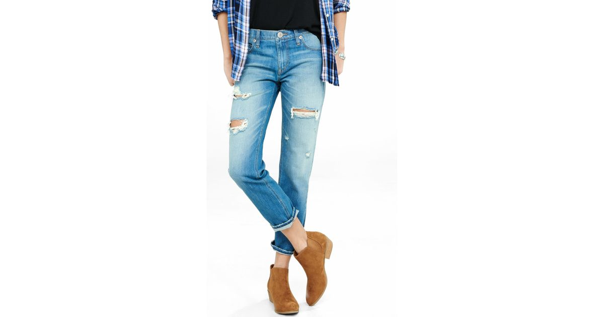 Express distressed faded unrolled girlfriend jean in blue for Express wash roma