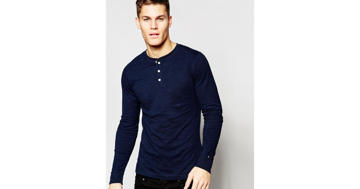 f3e546a9 Tommy Hilfiger Long Sleeve T-shirt With Henley Navy in Blue for Men - Lyst