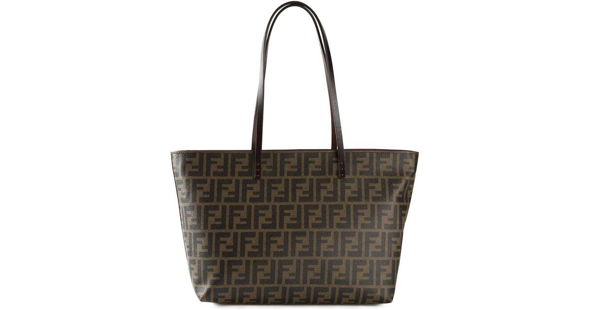 9d589c44213 Fendi Ff Logo 'roll' Tote Bag in Brown - Lyst