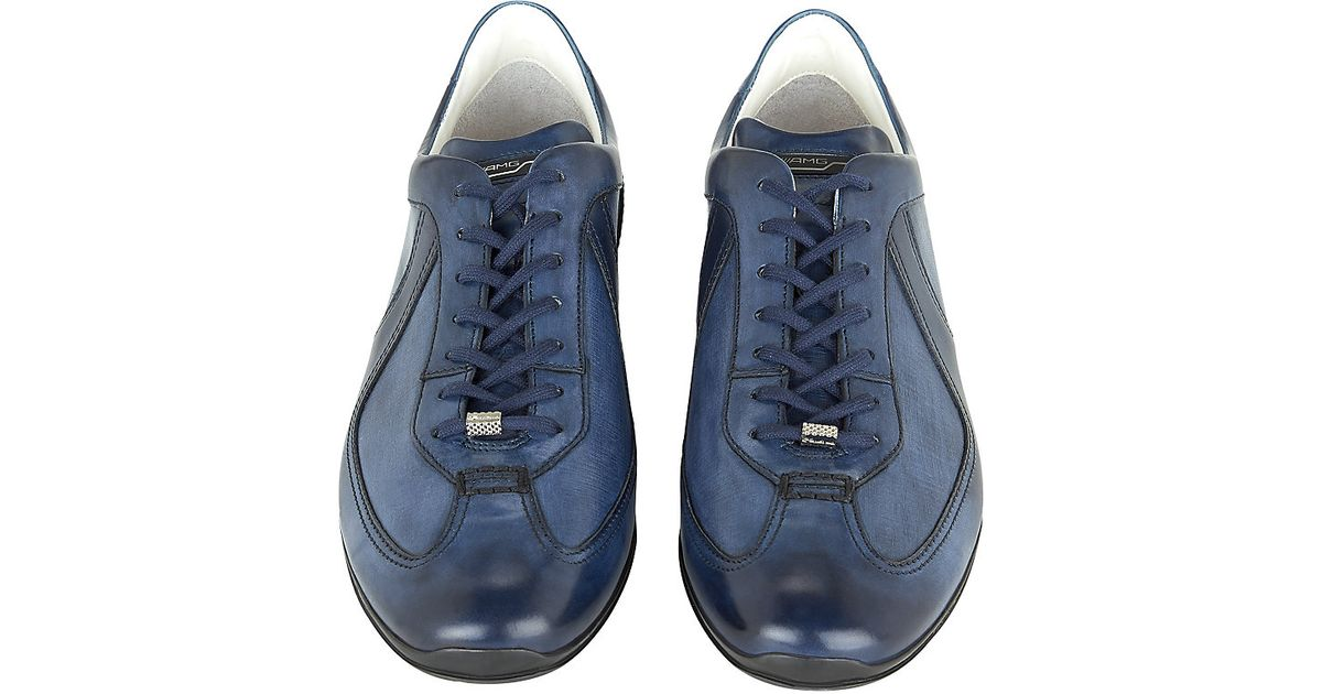 7a539a605d Santoni Amg Lo Pro Leather Sneaker in Blue for Men - Lyst